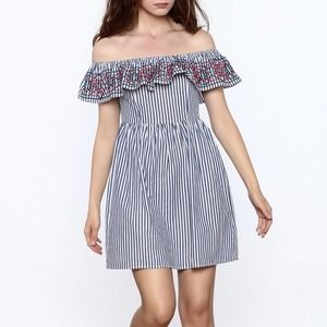 FLYING TOMATO Off The Shoulder Ruffle Dress